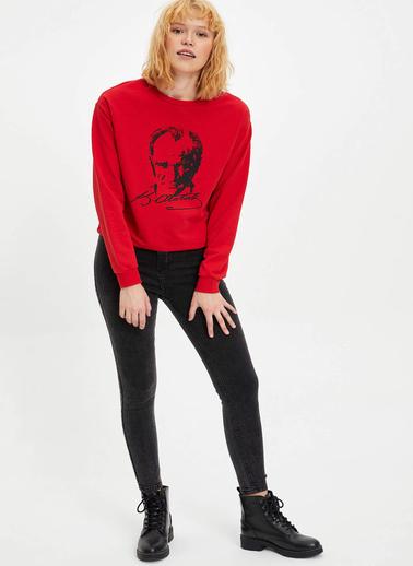 DeFacto Atatürk Baskılı Sweatshirt Kırmızı